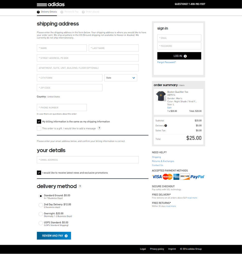the image shows how Adidas fit their entire e-commerce checkout process to a single page