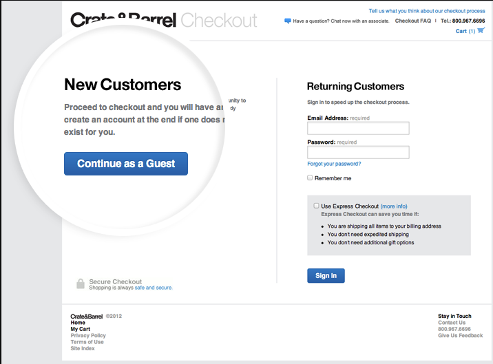 The image shows how company Crate&Barrel allows guest e-commerce checkout