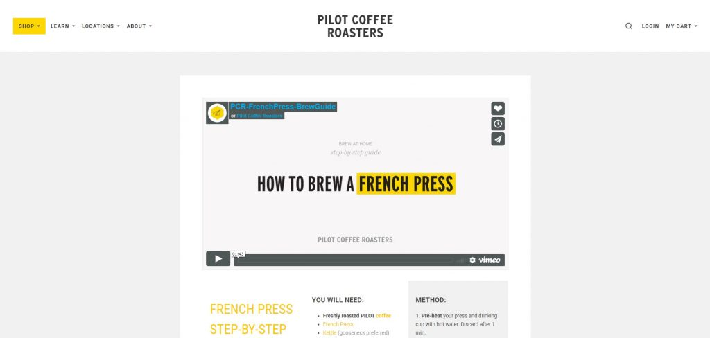 a demonstration of educational content on Pilot Coffee Roasters website
